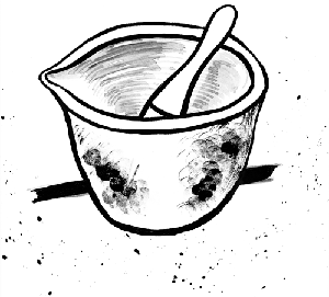 pen and ink drawing of pestle and mortar